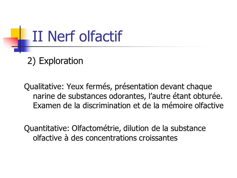 II Nerf olfactif 2) Exploration Qualitative: Yeux fermés, présentation devant chaque narine de substances odorantes, l'autre étant obturée. Examen de