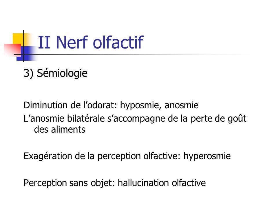 II Nerf olfactif 3) Sémiologie Diminution de l'odorat: hyposmie, anosmie L'anosmie bilatérale s'accompagne de la perte de goût des aliments Exagératio