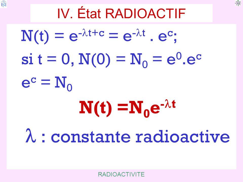 RADIOACTIVITE IV.État RADIOACTIF N(t) = e - t+c = e - t.