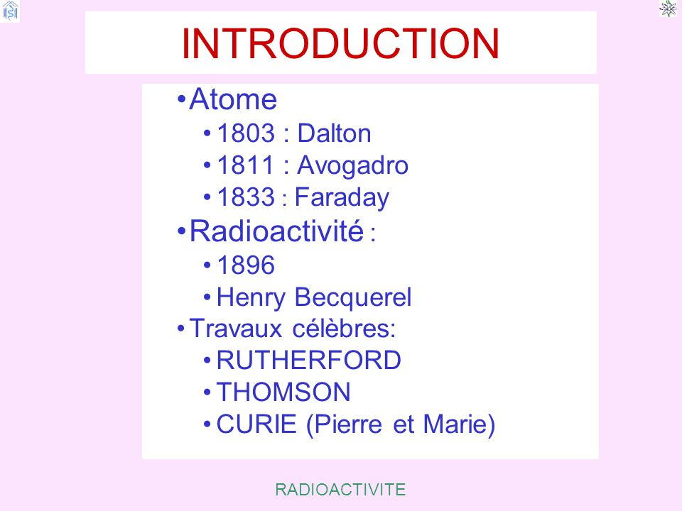 RADIOACTIVITE I.