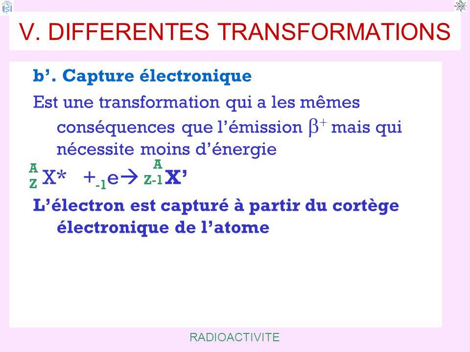 RADIOACTIVITE V.DIFFERENTES TRANSFORMATIONS b'.