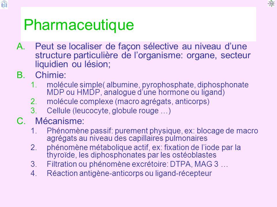 Pharmaceutique A.Peut se localiser de façon sélective au niveau d'une structure particulière de l'organisme: organe, secteur liquidien ou lésion; B.Chimie: 1.molécule simple( albumine, pyrophosphate, diphosphonate MDP ou HMDP, analogue d'une hormone ou ligand) 2.molécule complexe (macro agrégats, anticorps) 3.Cellule (leucocyte, globule rouge …) C.Mécanisme: 1.Phénomène passif: purement physique, ex: blocage de macro agrégats au niveau des capillaires pulmonaires 2.phénomène métabolique actif, ex: fixation de l'iode par la thyroïde, les diphosphonates par les ostéoblastes 3.Filtration ou phénomène excrétoire: DTPA, MAG 3 … 4.Réaction antigène-anticorps ou ligand-récepteur