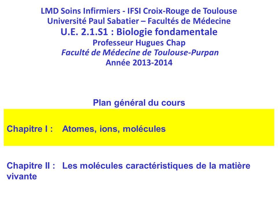 LMD Soins Infirmiers - IFSI Croix-Rouge de Toulouse Université Paul Sabatier – Facultés de Médecine U.E. 2.1.S1 : Biologie fondamentale Professeur Hug