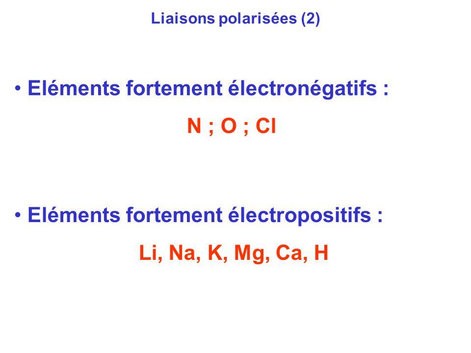 Liaisons polarisées (2) Eléments fortement électronégatifs : N ; O ; Cl Eléments fortement électropositifs : Li, Na, K, Mg, Ca, H