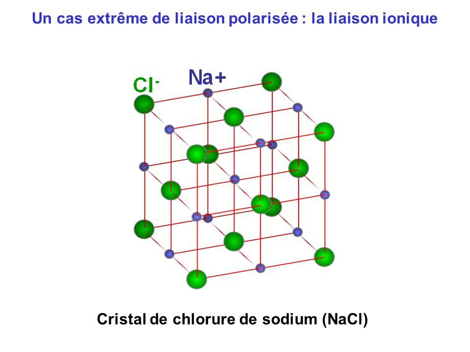 Un cas extrême de liaison polarisée : la liaison ionique Cristal de chlorure de sodium (NaCl)