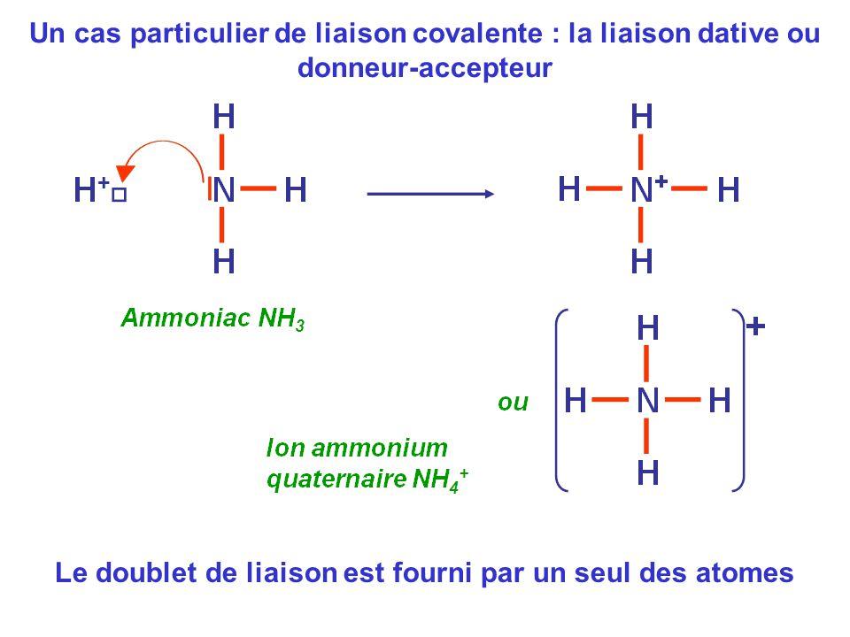 Un cas particulier de liaison covalente : la liaison dative ou donneur-accepteur Le doublet de liaison est fourni par un seul des atomes