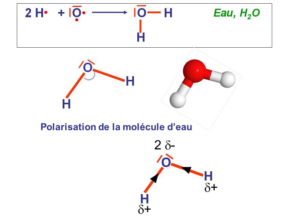 Polarisation de la molécule d'eau O H H 2  - ++ ++