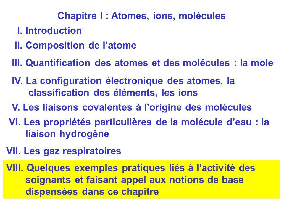 Chapitre I : Atomes, ions, molécules I. Introduction II. Composition de l'atome III. Quantification des atomes et des molécules : la mole IV. La confi