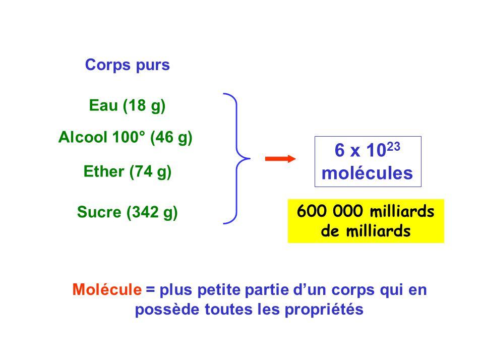 Corps purs Eau (18 g) Alcool 100° (46 g) Ether (74 g) Sucre (342 g) 6 x 10 23 molécules Molécule = plus petite partie d'un corps qui en possède toutes