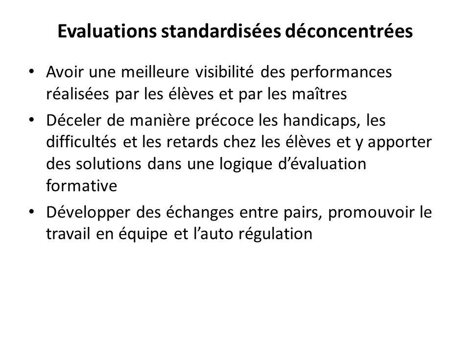 Evaluations standardisées déconcentrées Avoir une meilleure visibilité des performances réalisées par les élèves et par les maîtres Déceler de manière