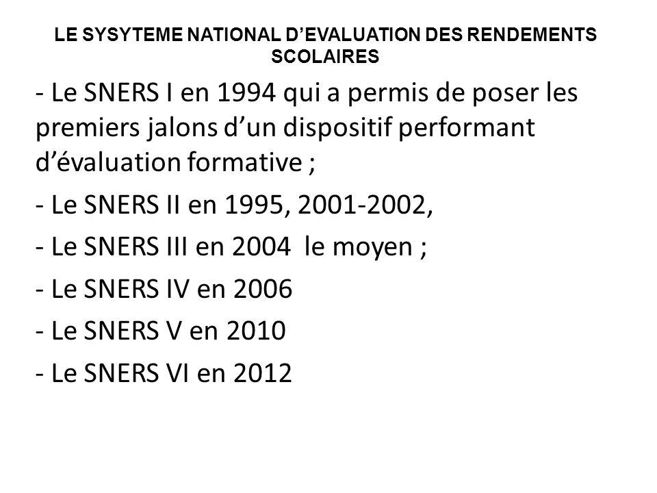 LE SYSYTEME NATIONAL D'EVALUATION DES RENDEMENTS SCOLAIRES - Le SNERS I en 1994 qui a permis de poser les premiers jalons d'un dispositif performant d