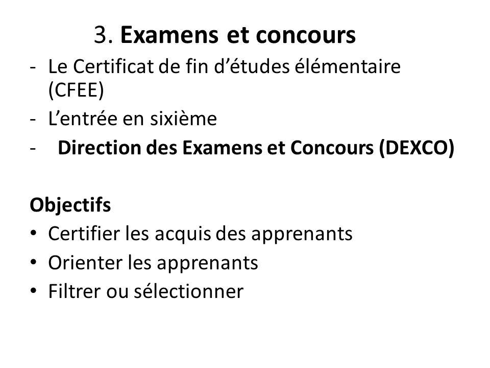 3. Examens et concours -Le Certificat de fin d'études élémentaire (CFEE) -L'entrée en sixième - Direction des Examens et Concours (DEXCO) Objectifs Ce