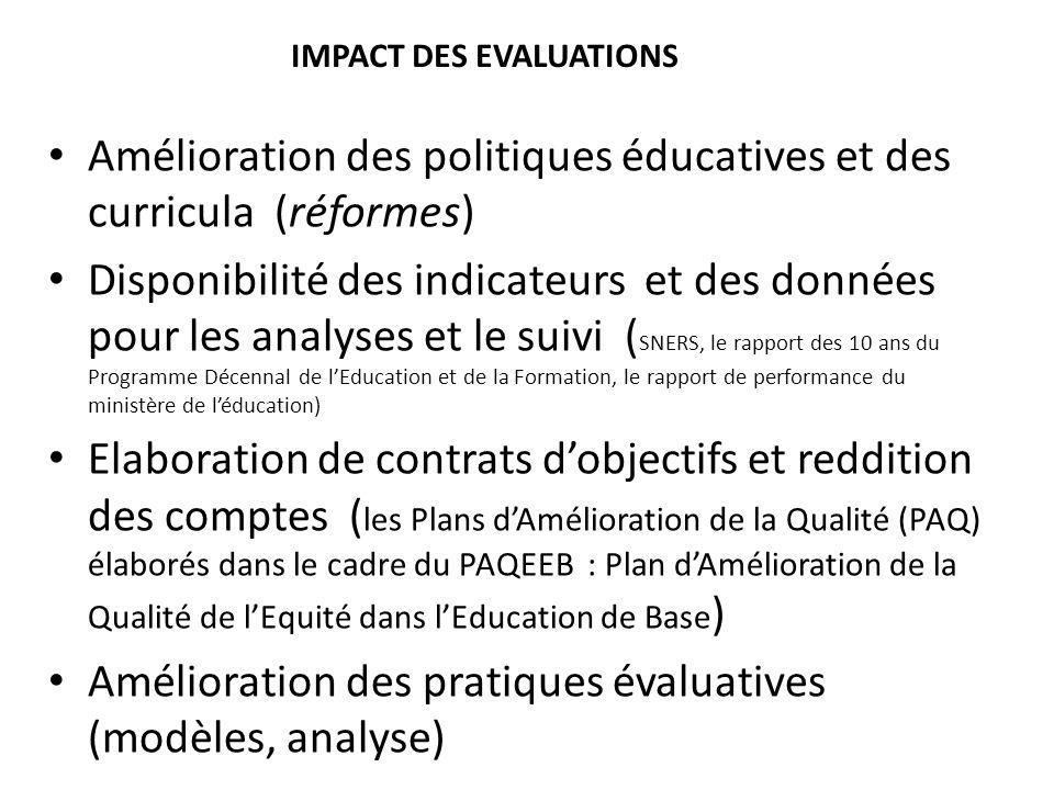 IMPACT DES EVALUATIONS Amélioration des politiques éducatives et des curricula (réformes) Disponibilité des indicateurs et des données pour les analys