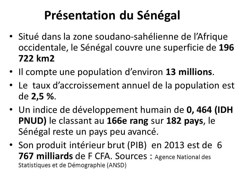 Présentation du Sénégal Situé dans la zone soudano-sahélienne de l'Afrique occidentale, le Sénégal couvre une superficie de 196 722 km2 Il compte une