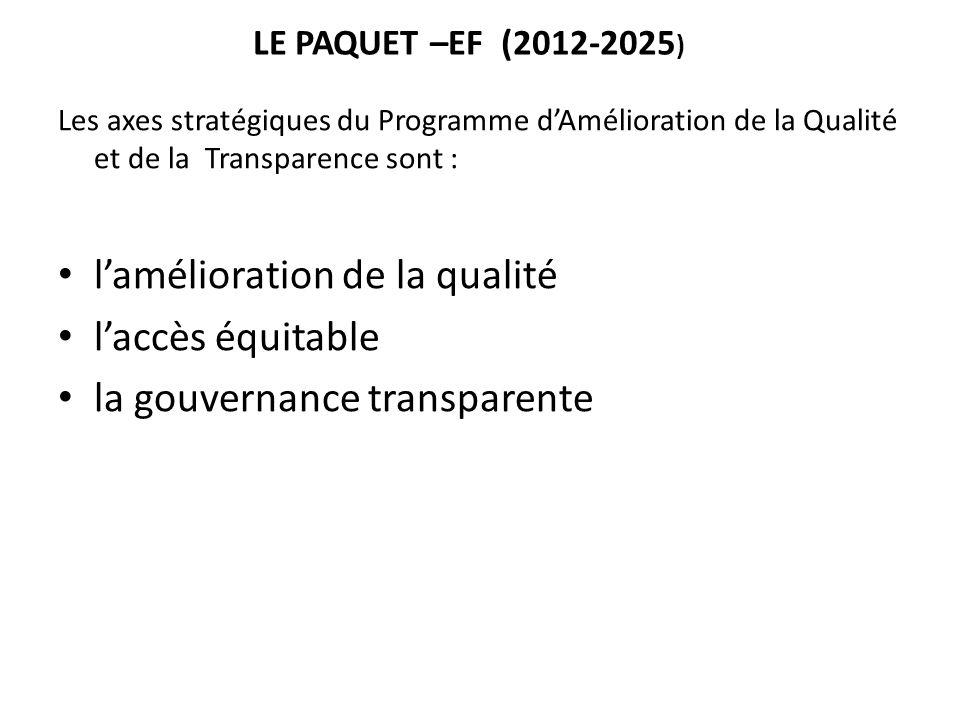 LE PAQUET –EF (2012-2025 ) Les axes stratégiques du Programme d'Amélioration de la Qualité et de la Transparence sont : l'amélioration de la qualité l