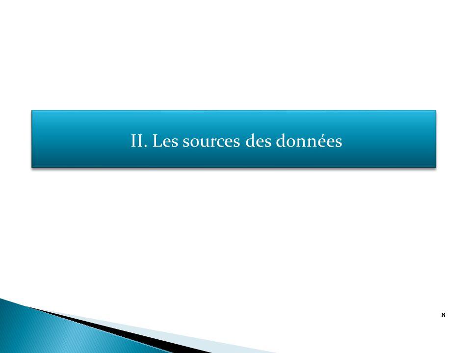 8 II. Les sources des données