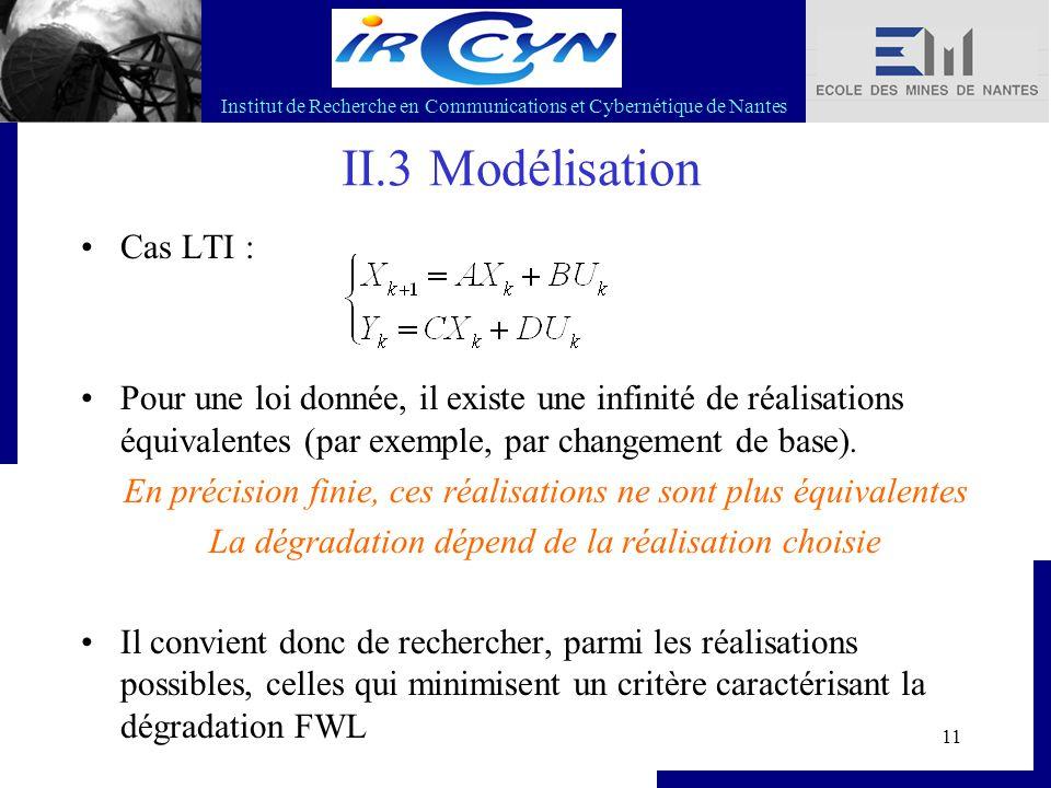 Institut de Recherche en Communications et Cybernétique de Nantes 11 II.3 Modélisation Cas LTI : Pour une loi donnée, il existe une infinité de réalis