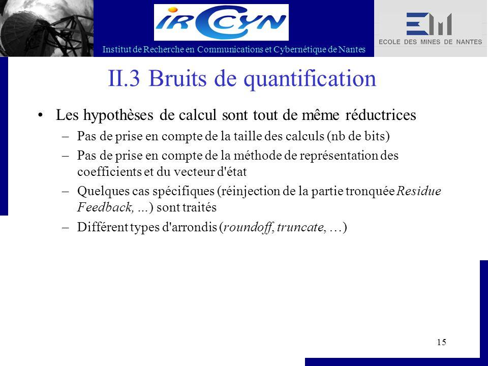 Institut de Recherche en Communications et Cybernétique de Nantes 15 II.3 Bruits de quantification Les hypothèses de calcul sont tout de même réductri