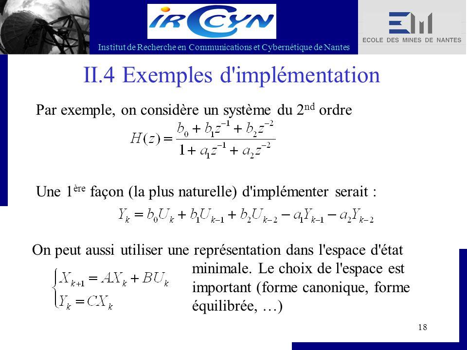 Institut de Recherche en Communications et Cybernétique de Nantes 18 II.4 Exemples d'implémentation Par exemple, on considère un système du 2 nd ordre