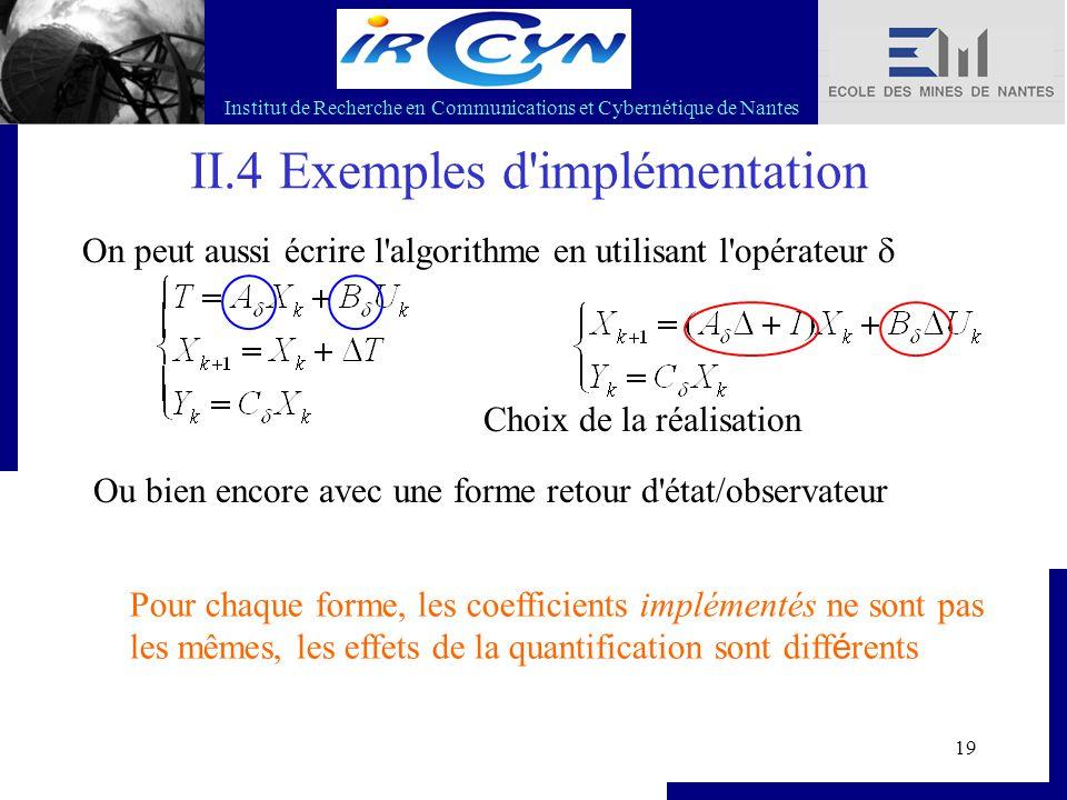 Institut de Recherche en Communications et Cybernétique de Nantes 19 II.4 Exemples d'implémentation On peut aussi écrire l'algorithme en utilisant l'o