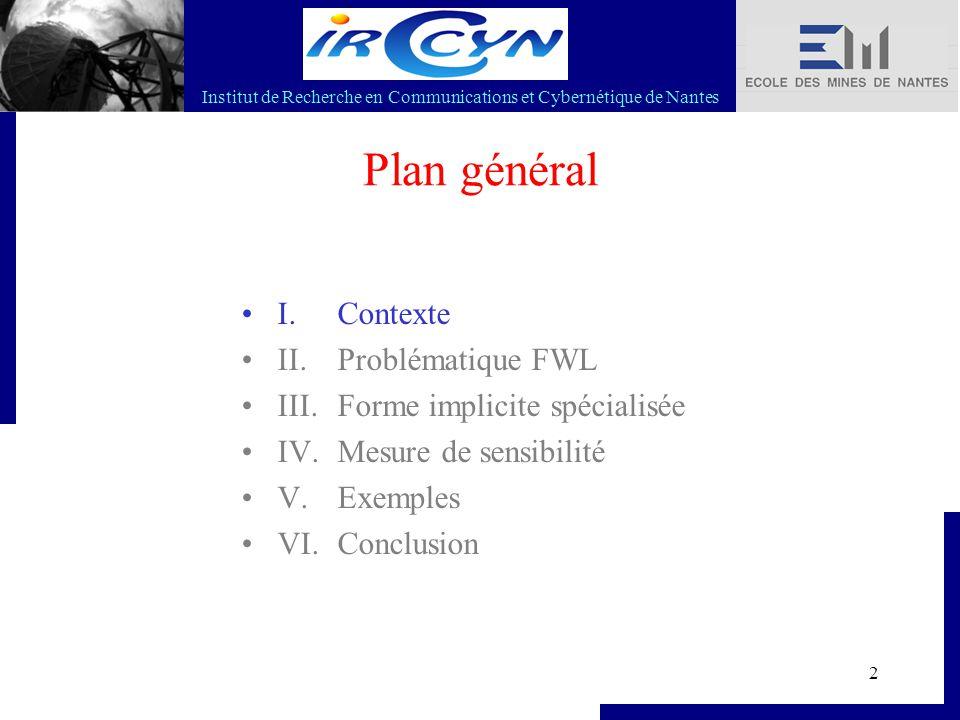 Institut de Recherche en Communications et Cybernétique de Nantes 2 Plan général I. Contexte II. Problématique FWL III. Forme implicite spécialisée IV