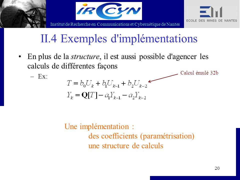 Institut de Recherche en Communications et Cybernétique de Nantes 20 II.4 Exemples d'implémentations En plus de la structure, il est aussi possible d'
