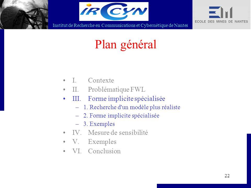 Institut de Recherche en Communications et Cybernétique de Nantes 22 Plan général I. Contexte II. Problématique FWL III. Forme implicite spécialisée –