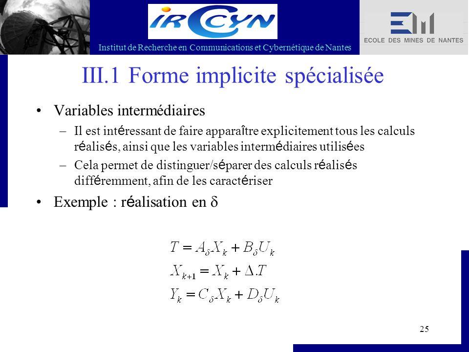 Institut de Recherche en Communications et Cybernétique de Nantes 25 III.1 Forme implicite spécialisée Variables intermédiaires –Il est int é ressant
