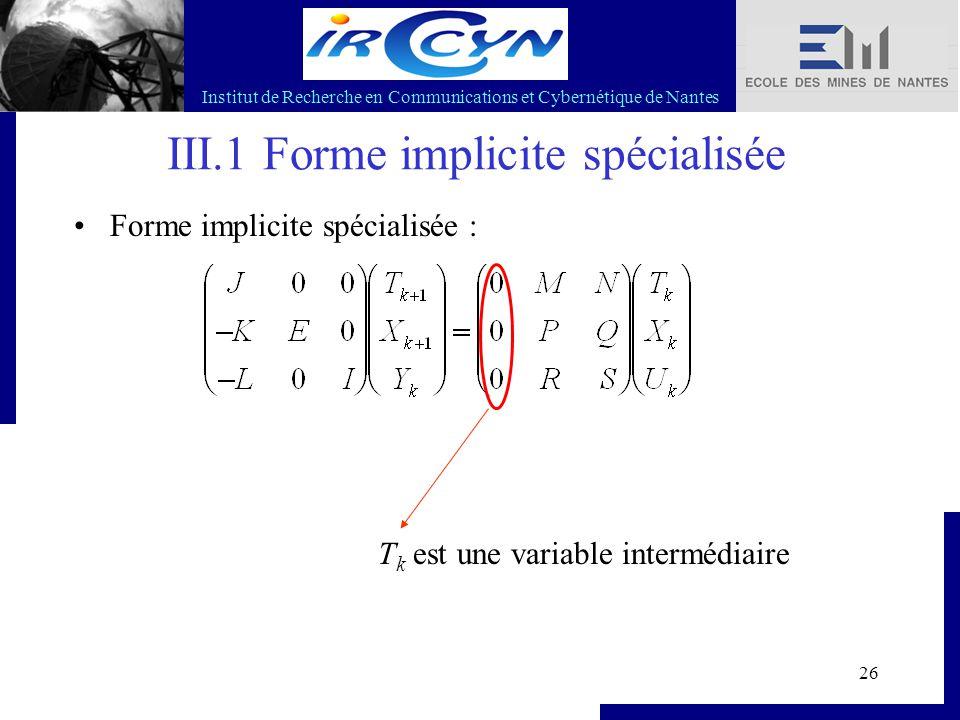 Institut de Recherche en Communications et Cybernétique de Nantes 26 III.1 Forme implicite spécialisée Forme implicite spécialisée : T k est une varia