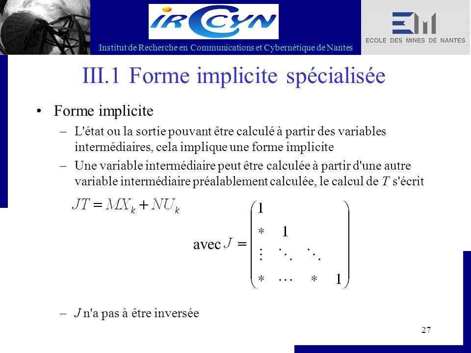 Institut de Recherche en Communications et Cybernétique de Nantes 27 III.1 Forme implicite spécialisée Forme implicite –L'état ou la sortie pouvant êt