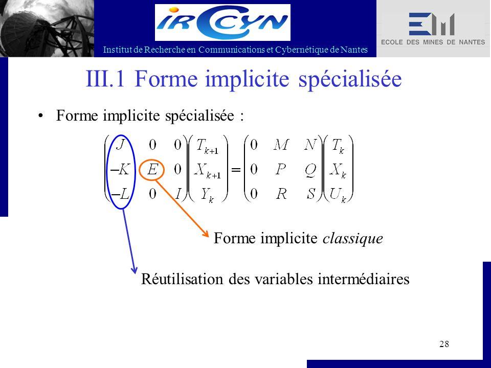 Institut de Recherche en Communications et Cybernétique de Nantes 28 III.1 Forme implicite spécialisée Forme implicite spécialisée : Réutilisation des