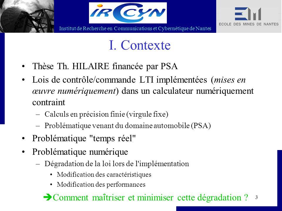 Institut de Recherche en Communications et Cybernétique de Nantes 3 I. Contexte Thèse Th. HILAIRE financée par PSA Lois de contrôle/commande LTI implé
