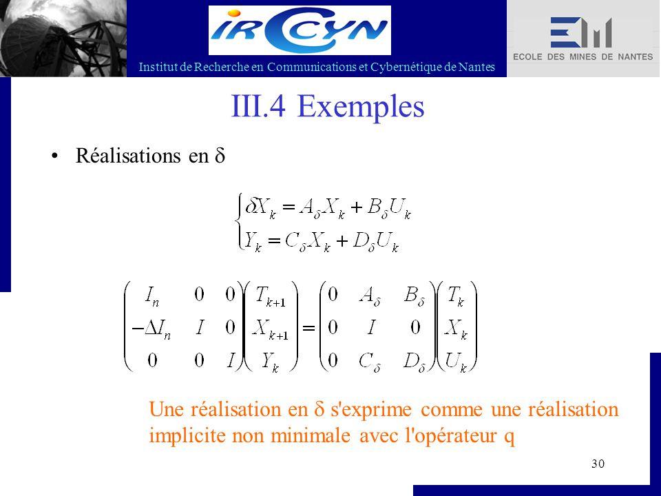 Institut de Recherche en Communications et Cybernétique de Nantes 30 III.4 Exemples Réalisations en  Une réalisation en  s'exprime comme une réalisa