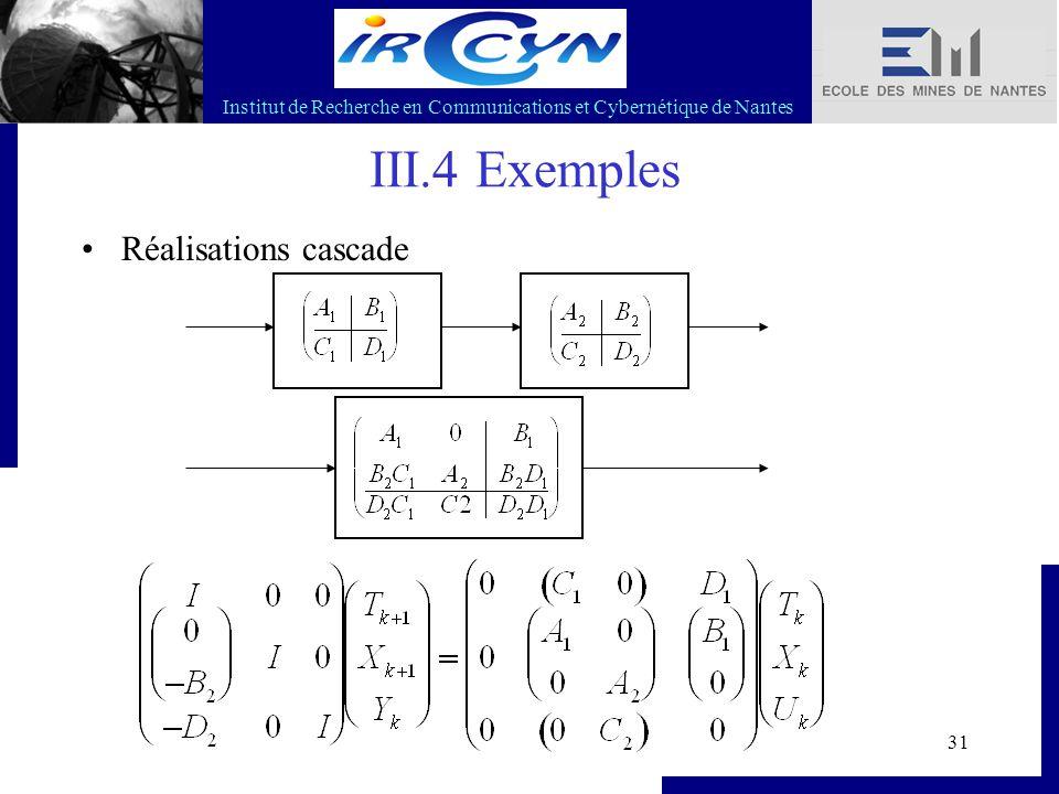Institut de Recherche en Communications et Cybernétique de Nantes 31 III.4 Exemples Réalisations cascade