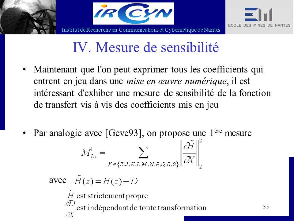 Institut de Recherche en Communications et Cybernétique de Nantes 35 IV. Mesure de sensibilité Maintenant que l'on peut exprimer tous les coefficients