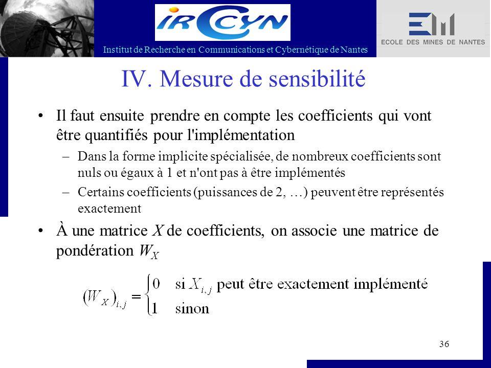 Institut de Recherche en Communications et Cybernétique de Nantes 36 IV. Mesure de sensibilité Il faut ensuite prendre en compte les coefficients qui