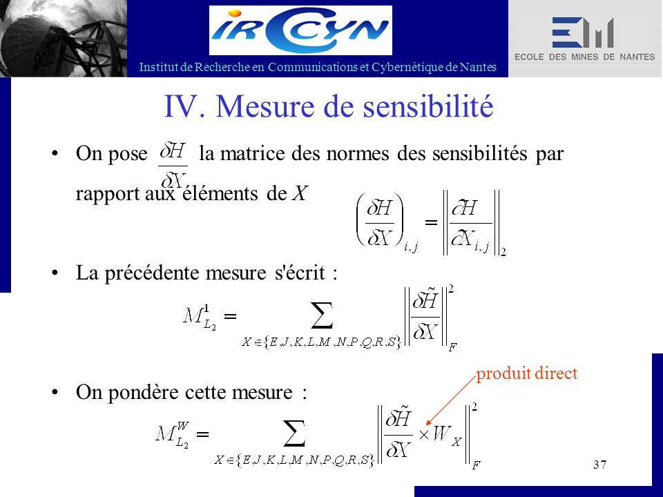 Institut de Recherche en Communications et Cybernétique de Nantes 37 IV. Mesure de sensibilité On pose la matrice des normes des sensibilités par rapp