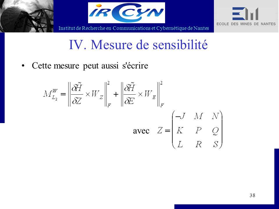 Institut de Recherche en Communications et Cybernétique de Nantes 38 IV. Mesure de sensibilité Cette mesure peut aussi s'écrire avec