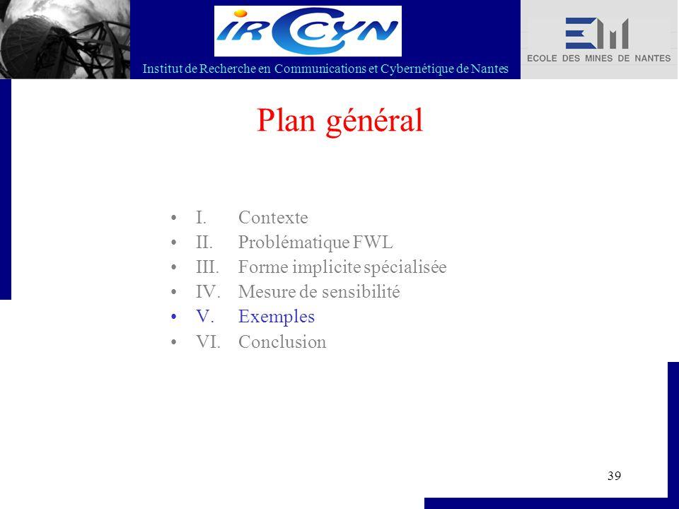 Institut de Recherche en Communications et Cybernétique de Nantes 39 Plan général I. Contexte II. Problématique FWL III. Forme implicite spécialisée I