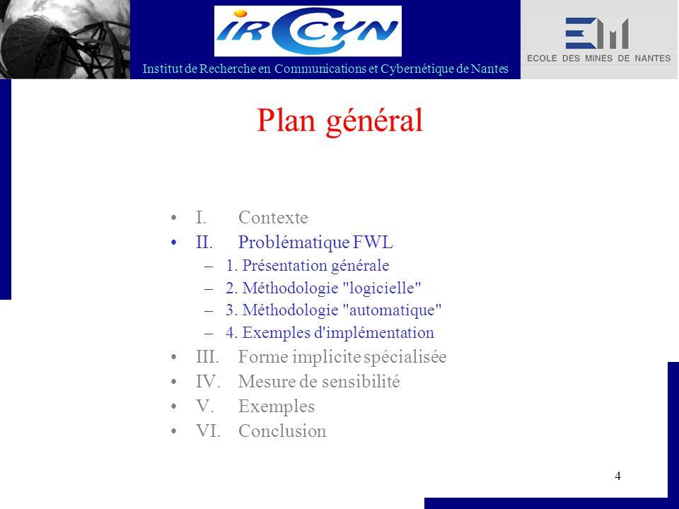Institut de Recherche en Communications et Cybernétique de Nantes 4 Plan général I. Contexte II. Problématique FWL –1. Présentation générale –2. Métho