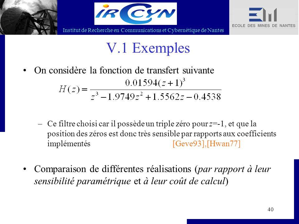 Institut de Recherche en Communications et Cybernétique de Nantes 40 V.1 Exemples On considère la fonction de transfert suivante –Ce filtre choisi car