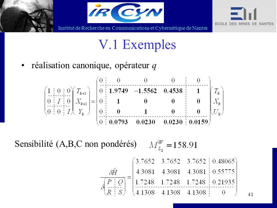 Institut de Recherche en Communications et Cybernétique de Nantes 41 V.1 Exemples réalisation canonique, opérateur q Sensibilité (A,B,C non pondérés)
