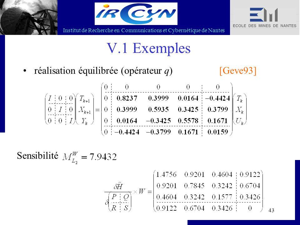 Institut de Recherche en Communications et Cybernétique de Nantes 43 V.1 Exemples réalisation équilibrée (opérateur q) Sensibilité [Geve93]