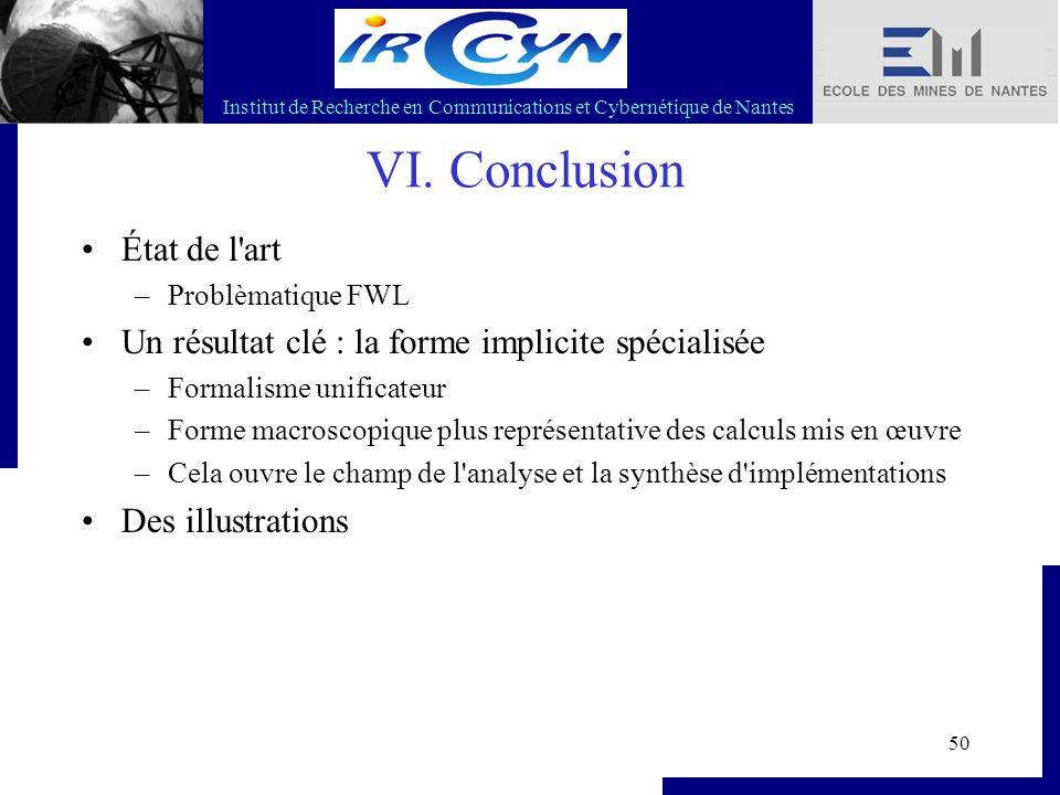 Institut de Recherche en Communications et Cybernétique de Nantes 50 VI. Conclusion État de l'art –Problèmatique FWL Un résultat clé : la forme implic