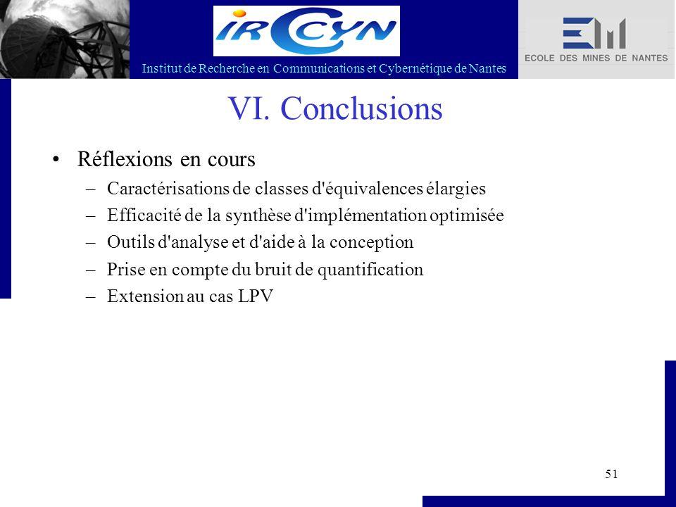 Institut de Recherche en Communications et Cybernétique de Nantes 51 VI. Conclusions Réflexions en cours –Caractérisations de classes d'équivalences é