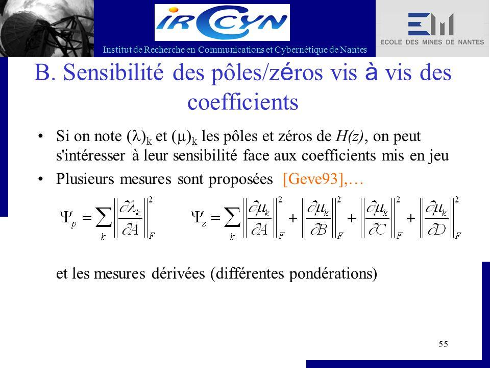 Institut de Recherche en Communications et Cybernétique de Nantes 55 B. Sensibilité des pôles/z é ros vis à vis des coefficients Si on note ( ) k et (
