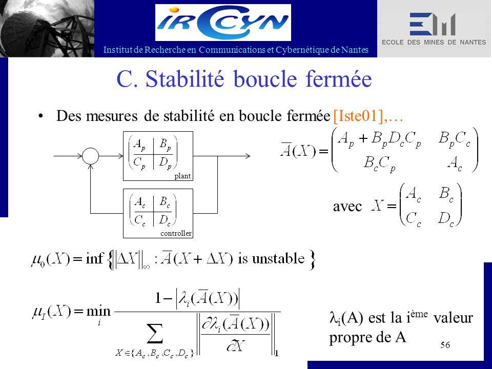 Institut de Recherche en Communications et Cybernétique de Nantes 56 C. Stabilité boucle fermée Des mesures de stabilité en boucle fermée[Iste01],… pl