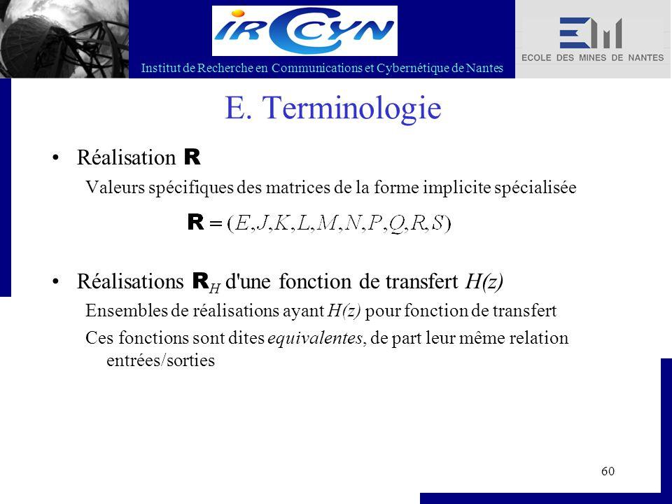 Institut de Recherche en Communications et Cybernétique de Nantes 60 E. Terminologie Réalisation R Valeurs spécifiques des matrices de la forme implic