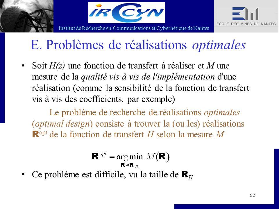 Institut de Recherche en Communications et Cybernétique de Nantes 62 E. Problèmes de réalisations optimales Soit H(z) une fonction de transfert à réal