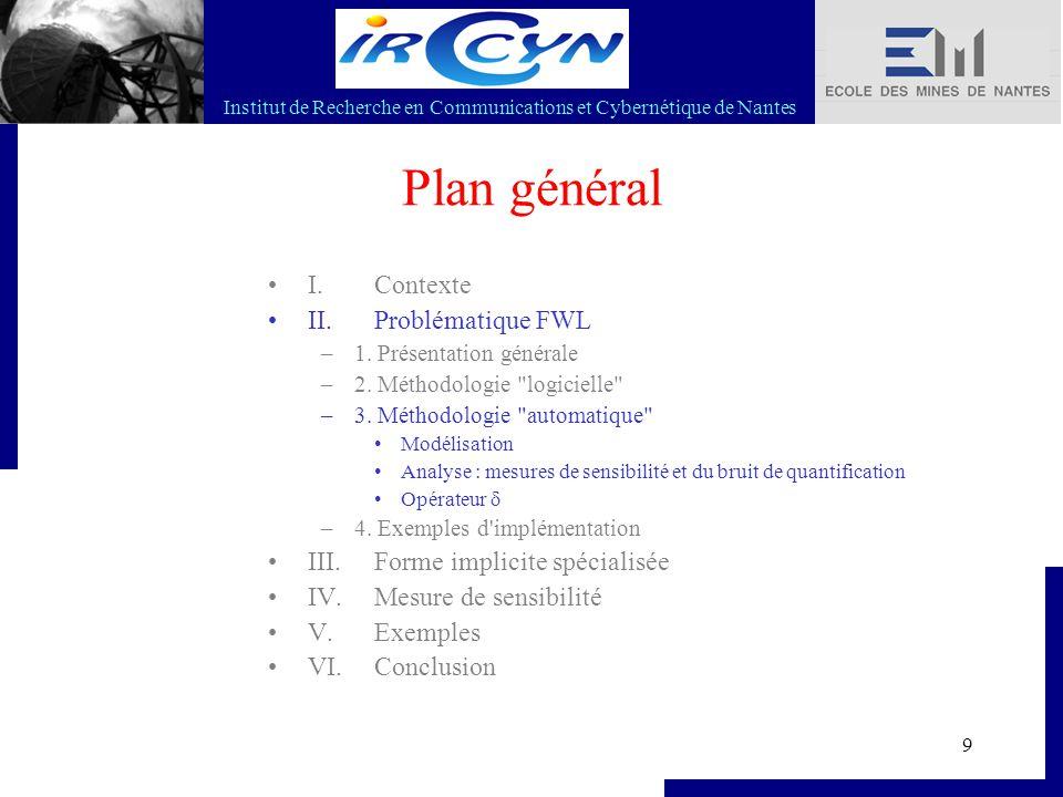 Institut de Recherche en Communications et Cybernétique de Nantes 10 II.3 Modélisation Lois de contrôle/commande : Filtres / Régulateurs LTI Cartographies Régulateurs LPV Etc.